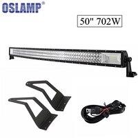 Oslamp 3 ряд 50 дюймов 702 Вт изогнутые светодиодные бар с крепления beacket свет работы для ford f 250 f 350 f 450 super duty 1999 2015