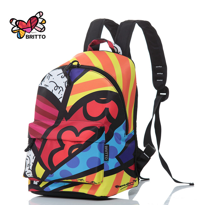 Purchase BRITTO PU Leather Graffiti Backpack 2016 Hot Sale College Wind Satin Backpacks Travel Bags Rucksack School bag
