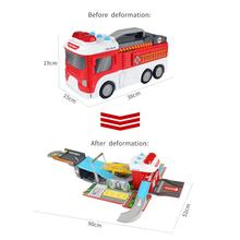 Children Simulation Fire Truck Sound and Light Deformation Car Track/Parking Fire Mobile Headquarters for Kids assembling large fire truck toy cars fire truck multi functional parking diy building car vehicle city track sets with light and