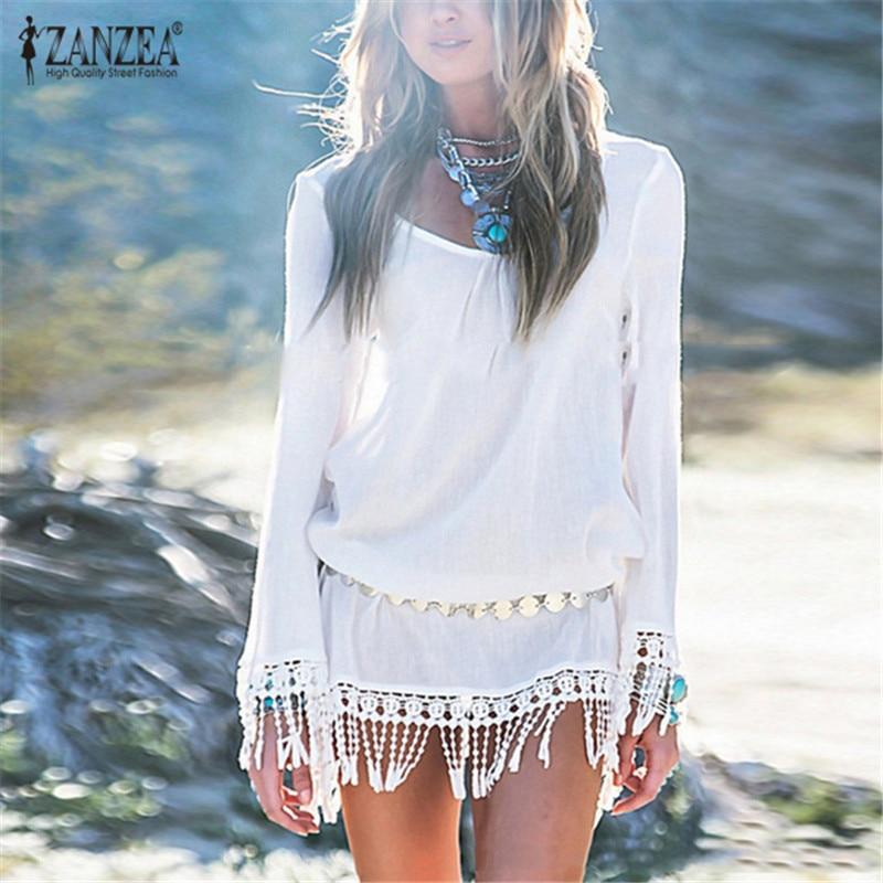 Zanzea 2018 nyári nők strand mini rövid fehér ruha elegáns O nyak csipke bojt üreges szilárd strand ruha Vestidos tunika