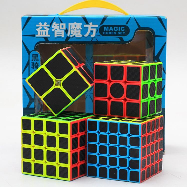 Z-Cube Bundle Black Knight  2x2 3x3 4x4 5x5 Speed Cube Set  Cube Pack Puzzle Carbon Fiber Cube Magic Fidget Toy Gift Box