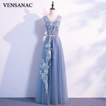 VENSANAC A Line V Neck Lace Appliques 2018 Long Evening Dresses Elegant Metal Leaf Sash Backless Party Prom Gowns