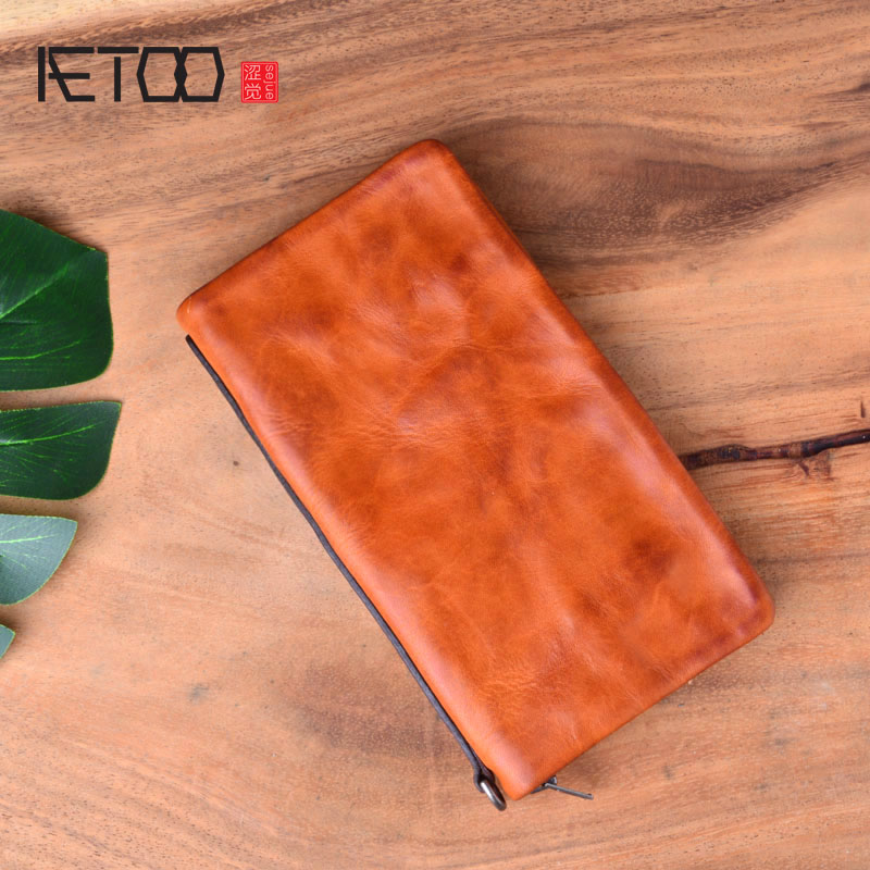 AETOO Men's wallet men's leather suede leather handbag long paragraph washed leather zipper handmade wallet retro foldover suede wallet
