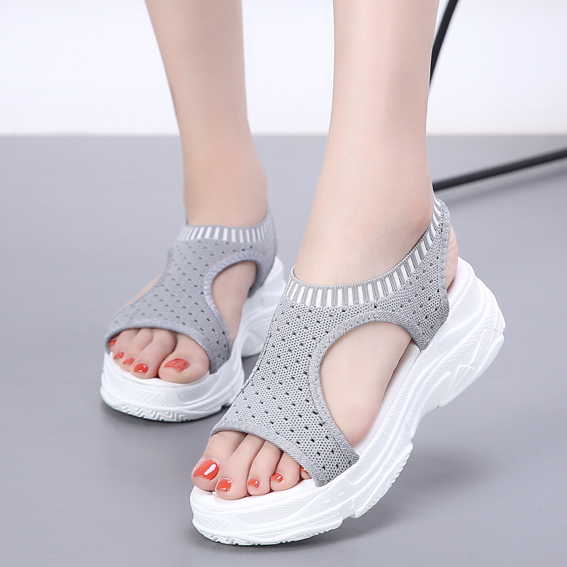 JINBEILEE outdoor summer sandals women fish mouth mesh breathable comfortable black and white shoes in Beach Outdoor Sandals from Sports Entertainment