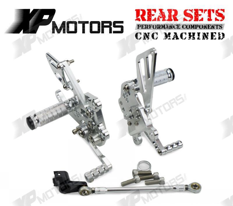 Silver CNC Rearset Adjustable Foot pegs Rear Sets Fit For Aprilia Tuono1000 V4 R APRC 2011 2012 2013 2014