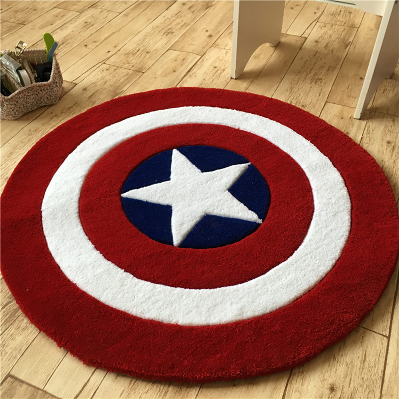 Acrylic Captain America Shield Carpet Cartoon Children Livingroom Rug Hallway Mat Sofa Circle Computer Cushion Rug Children Pad