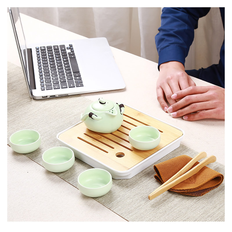 Kung Fu Tea Set Beautiful Easy Teapot Kettle Chinese Travel Teaware Sets Ceramic Portable Teaset Bamboo Tray Coffee Cup Gaiwan in Teaware Sets from Home Garden