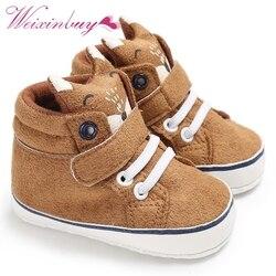 1 пара осенних ботинок для малышей Детские ботиночки для мальчиков и девочек с лисьим носком и кружевом из хлопчатобумажной ткани для первы...