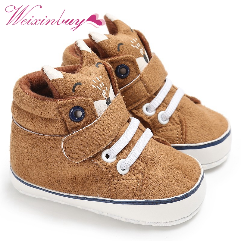 498709a1 1 Pair Autumn Baby Shoes Kid Boy Girl Fox Head Lace Cotton Cloth First  Walker Anti-slip Soft Sole Toddler Sneaker
