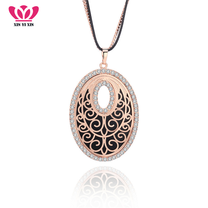 New Design Long Chains Crystal Necklace EU Style Oval Hollow Elegant Acrylic Sweater Collier For Women Party Gift Dropshipping