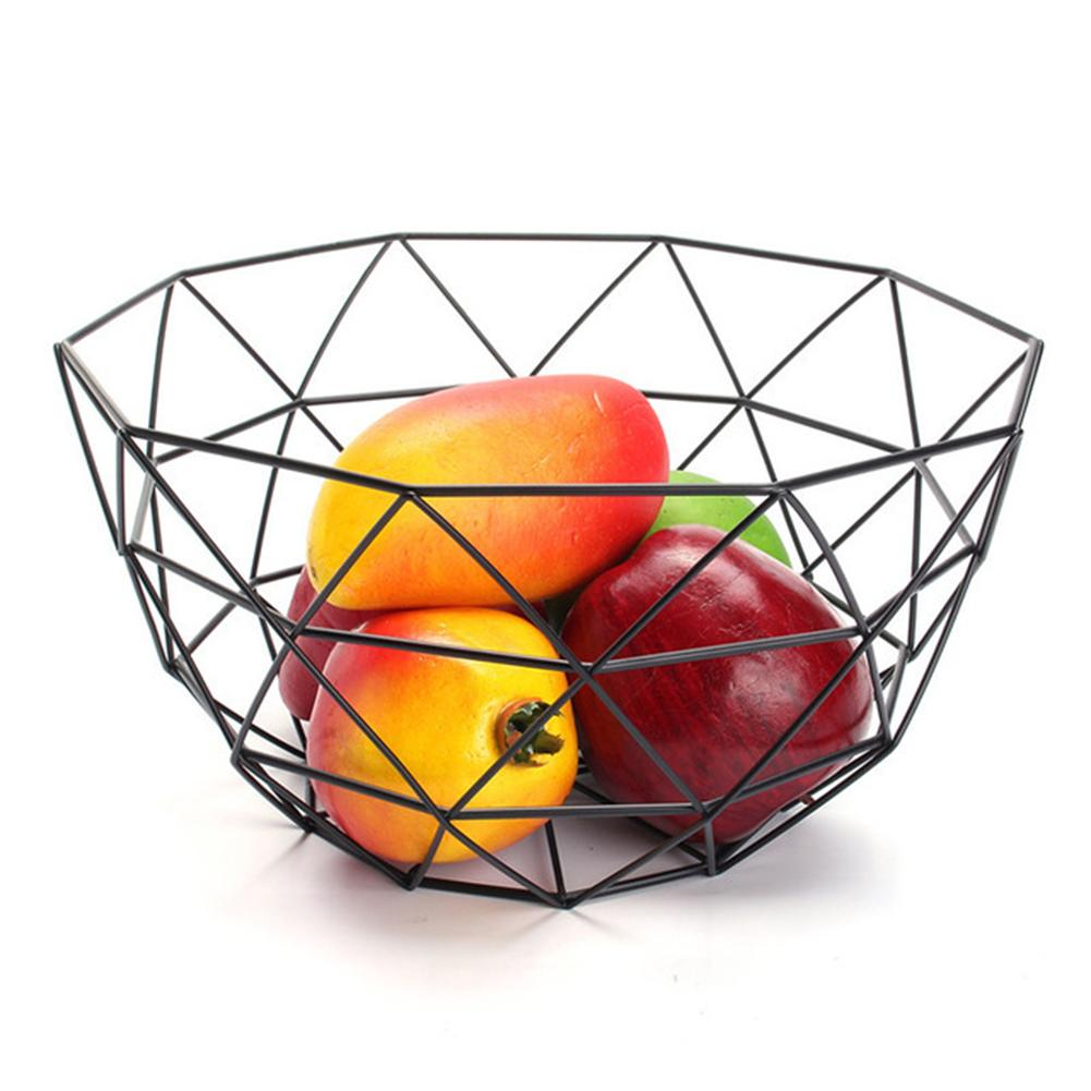 Nordic Style Fruit Basket Wire Decorated Metal Storage Basket Black Display Bowl Fruit Rack Vegetable Table Dining Decoration 40