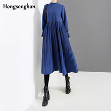 Hongsonghan 2019 new spring temperament womens dress drapery draped high waist mid-calf flared long sleeve tide