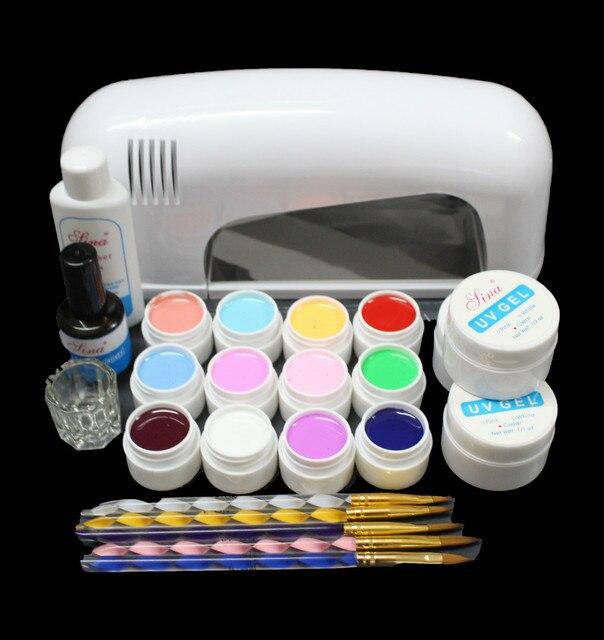 EM-120FREE SHIPPINGHigh quality PRO FULL Nail Art Set 9W UV GEL White Lamp 12 Color Pure UV GEL Brush