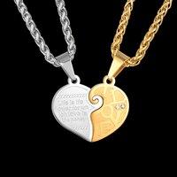 2Pcs Best Friends Pendant Necklaces Gold Color Long Chain Neckless Stainless Steel Heart Couple Friendship Necklace
