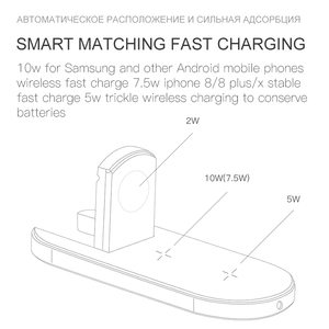 Image 4 - ESVNE 3 IN 1 QI Wireless Charger For iPhone X Xr XS Max Fast Charging For Apple Watch 1 2 3 4 AirPods charger For Samsung