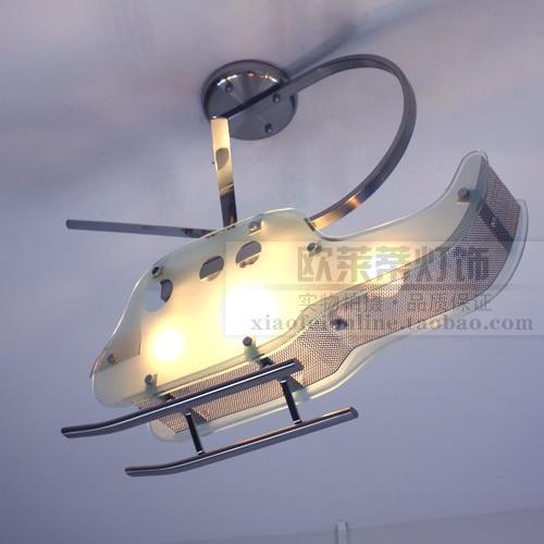 modern Fashion LED Children room Helicopter Ceiling Light Glass Stainless Steel ceiling light 110-240V