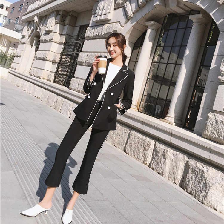 AYUNSUE 秋の新 2019 韓国ダブルブレストブレザー女性 2 個セットシンプルなカジュアル女性のスーツレディース作業服 LX2198