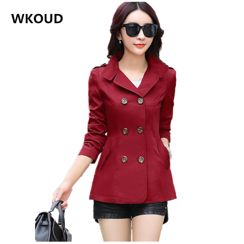 WKOUD Women   Trench   Coats Hot 2018 Slim Solid Double Breasted Turn-down Collar Overcoat Women's Plus Size Outerwear C8104