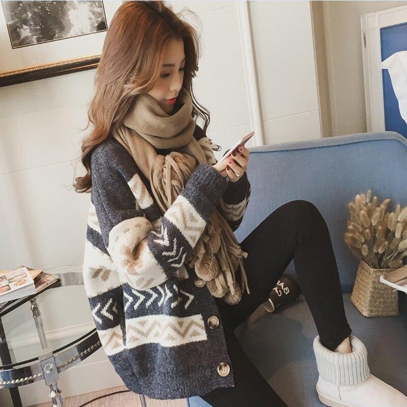 Осенне зимний модный свитер Повседневный ленивый ветер теплый свободный однобортный v образный вырез летучая мышь рукав вязаный кардиган снаружи рубашка свитер