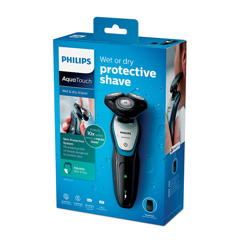 Philips face shaver aquatouch wet and dry electric shaver S5070 04 40 min cordless use 1h charge with ComfortCut Blade System in Electric Shavers from Home Appliances