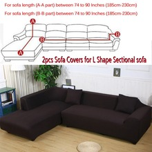 8colors Sofa Covers L Shape 2pcs (3+3seat) Slipcover Stretch Four Season Sofa Covers Furniture Protector Corner Sofa Cover