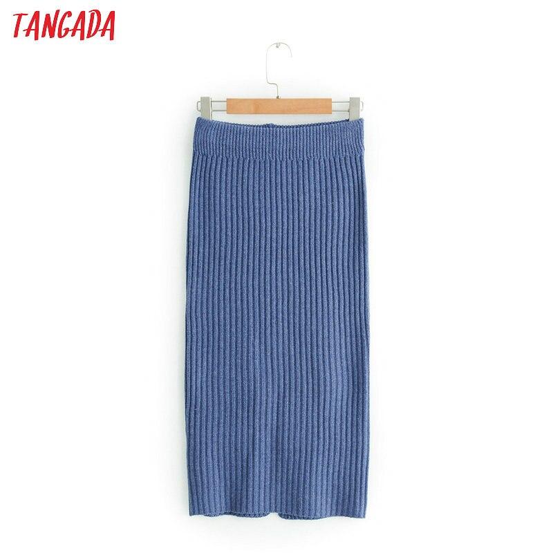 Tangada mode frauen gestrickte elastische taille knielangen bleistift röcke damen rock hohe taille chic marke weibliche JN170