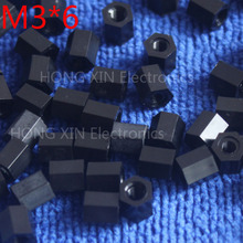 цена на M3*6 3mm 1 pcs black nylon Black Nylon Hex Female-Female Standoff Spacer Threaded Hexagonal Spacer Standoff Spacer high-quality