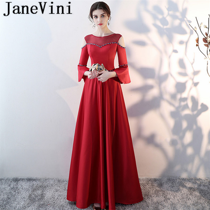 JaneVini Red Plus Size Bridesmaid Dresses Beads Sheer Neck 3/4 Long Sleeves Lace-up Back Sweep Train Stain Vestido Dama De Honra