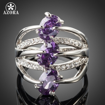 AZORA White Gold Color 3pcs Purple Stellux Austrian Crystal Ring TR0089 37ac8a47dabe