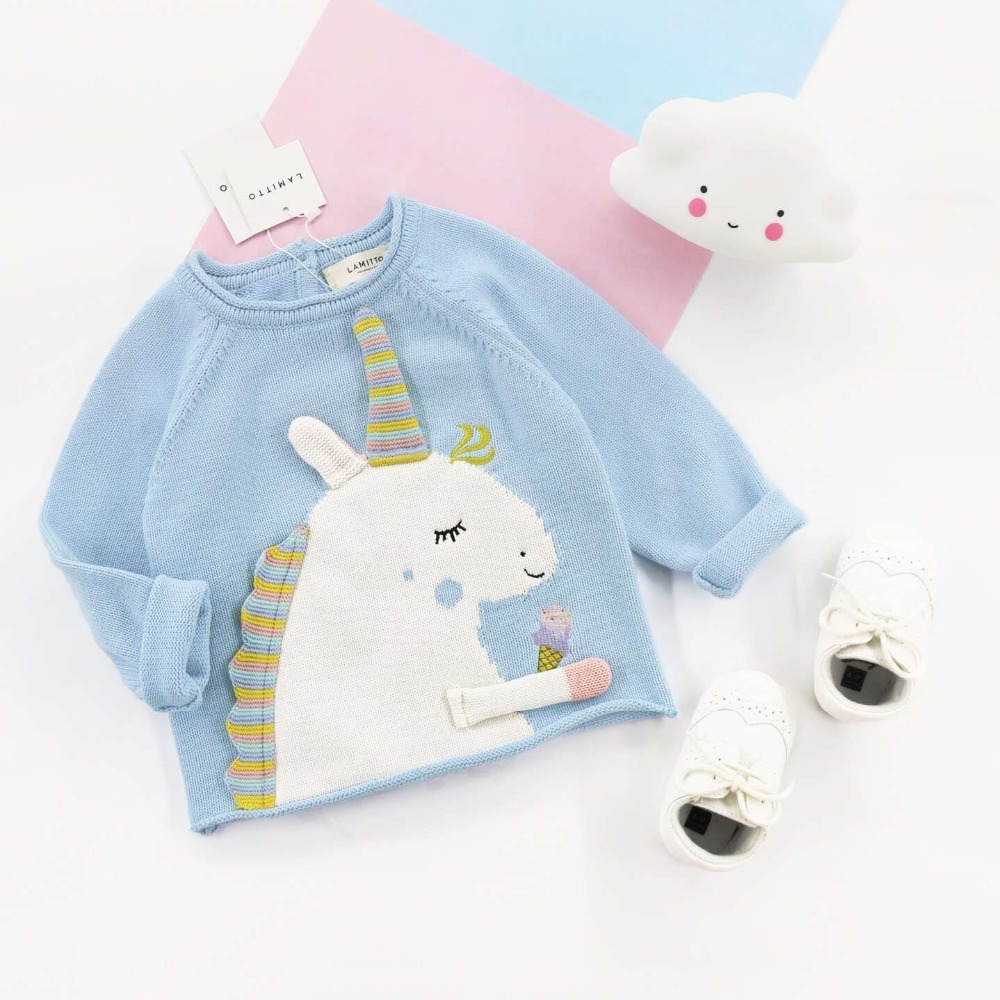 d5f9f90df8b7 Spring Baby Boys Girls Sweaters Kids Girl Knitted Cartoon Unicorn ...