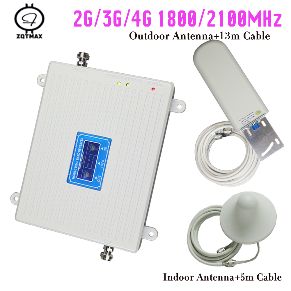 Mobile Dual Band Amplifier 1800 2100 3g Repeater DCS WCDMA 2G 3G 4G LTE Cellular Signal Booster Repeater Booster Kits For Home