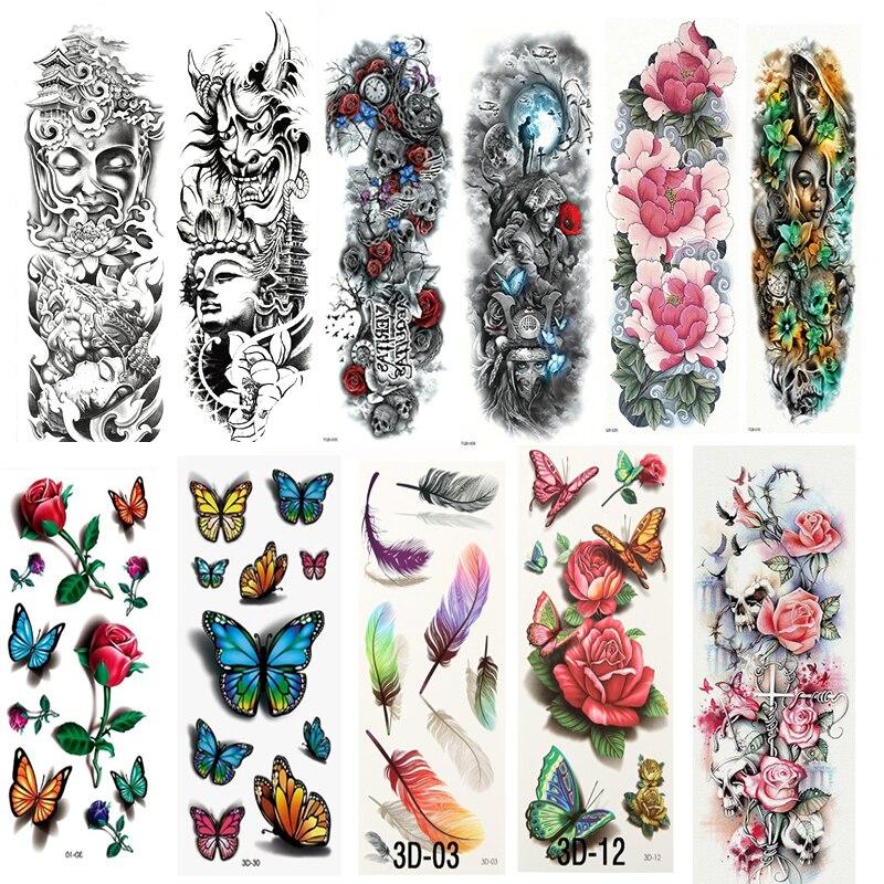 Waterproof Temporary Tattoo Stickers Flash Tattoos for Body Art Flower Tattoos Sleeve Transfer Stickers Skull Metallic Tattoos