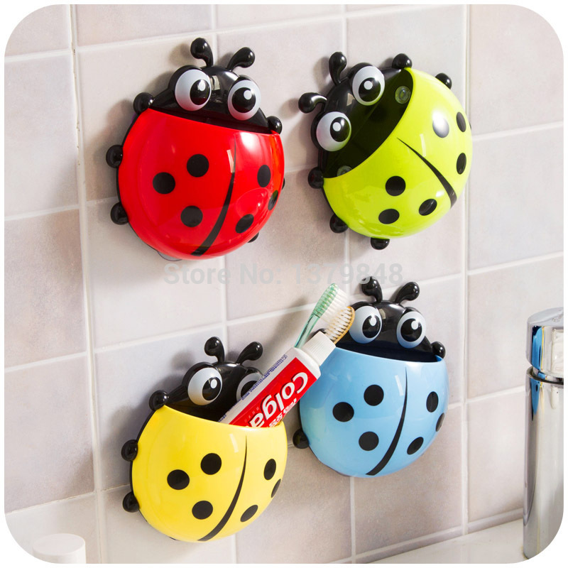 4Pcs/Lot Creative Cute Ladybug Toothbrush Holder Toothpaste Holder Novelty Households Sucker Sheif image