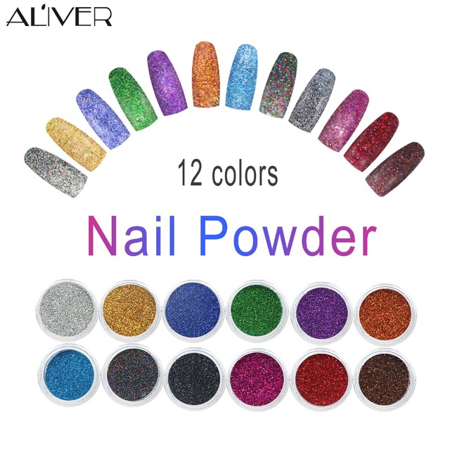 Fashion 12 Colors Mix UV Gel Nail Art Glitter Dust Powder For UV GEL ...