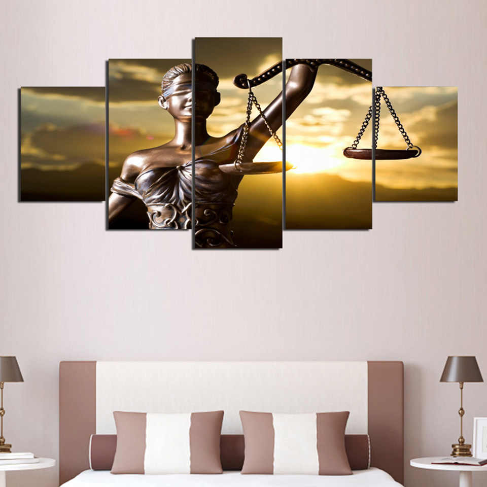HD Prints Canvas Poster Home Decor 5 Pieces Themis Goddess Of Justice Painting Modular Living Room Wall Art Pictures Framework