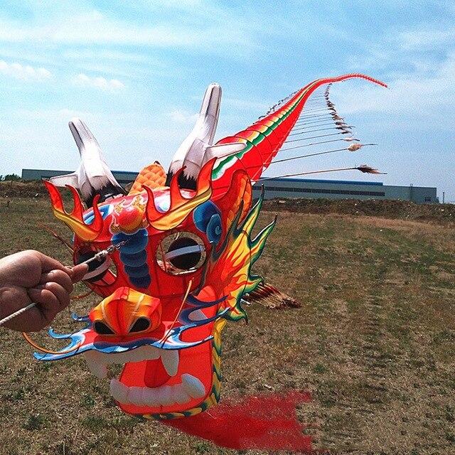 Artisanat traditionnel chinois tête de Dragon mille-pattes enfants cerf-volant sept mètres de Long en plein air parent-enfant - 4