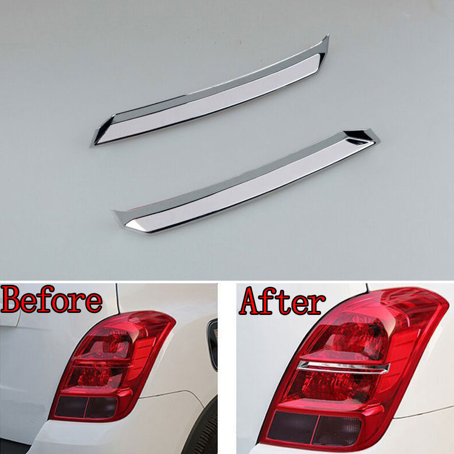 2x Chrome ABS Car Tail Rear Light Molding Trim Lamp Decoration Cover Stripe Styling Sticker Fit For Chevrolet TRAX Accessories