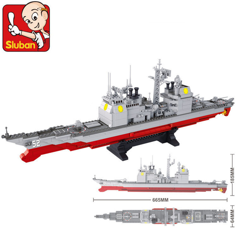 SLUBAN 883PCS B0389 Army NAVY Warship Model Building Blocks CRUISER Plane Carrier Bricks Toys Gift Compatible with Gift new phoenix 11207 b777 300er pk gii 1 400 skyteam aviation indonesia commercial jetliners plane model hobby
