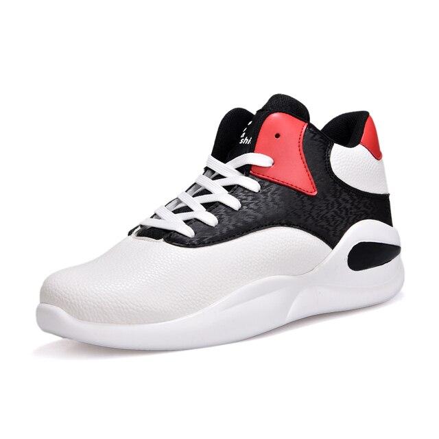 Для Мужчин's SneakersHot 2018 Демисезонный плюс бархат Баскетбол обувь черного и красного цвета на шнуровке тренер спортивная обувь размеры 39–44