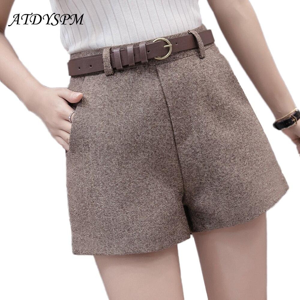 New Women brand fashion woolen shorts 2019 elegant wild casual bottom shorts female high waist wide leg A-line shorts free belt Шорты