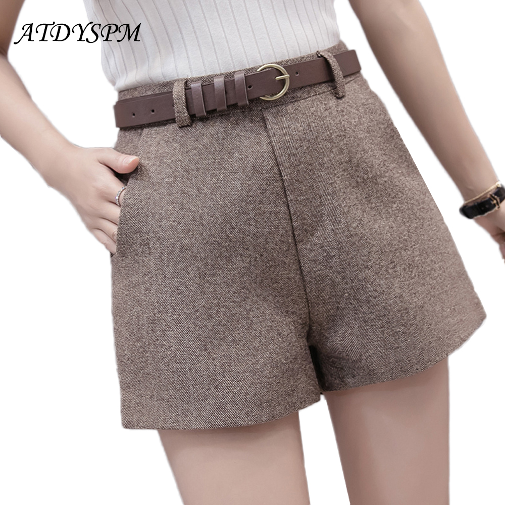 Women's brand   shorts   2019 new fashion comfortable elegant wild casual bottom   shorts   high waist belt slim wide leg A-line   shorts