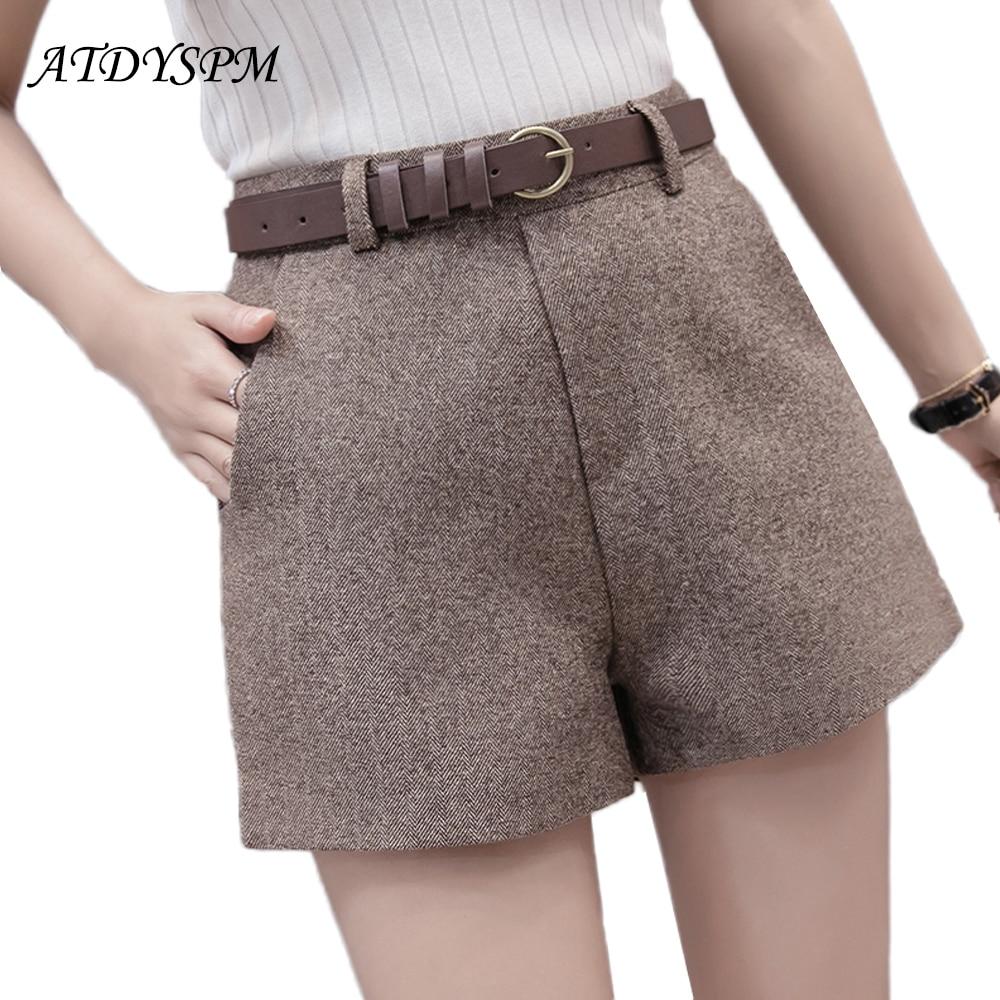 Women's woolen   shorts   2018 new fashion casual comfortable elegant wild   shorts   high waist belt slim wide leg A-line   shorts