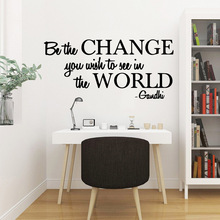 Creative be the change you wish to see Self Adhesive Vinyl Waterproof Wall Art Decal Pvc Decals Diy Home Decoration