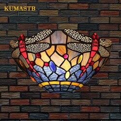Witraże półkole Dragonfly kinkiety lampka nocna do sypialni klasyczna ściana Scone Bar Cafe restauracja ścienna oprawa oświetleniowa
