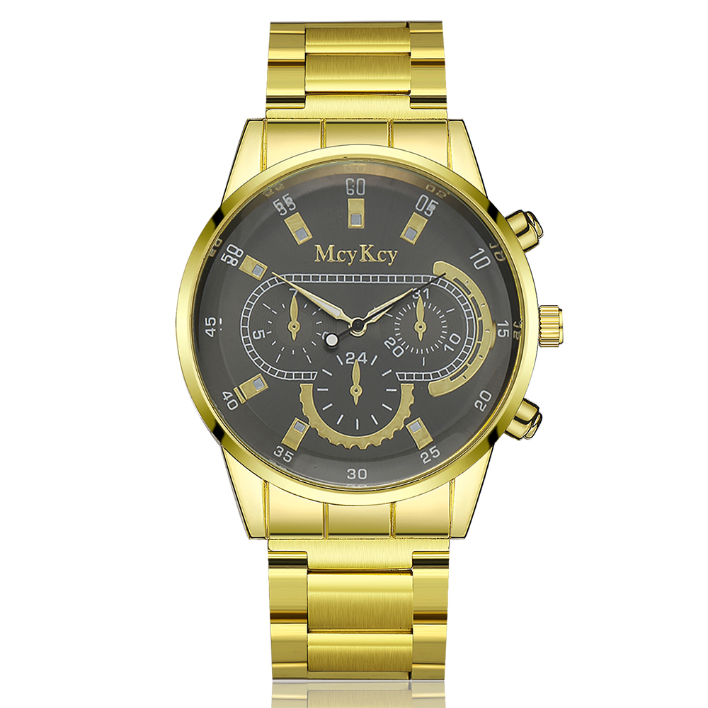 Mcykcy Brand 2017 Gold Stainless Steel Wristwatch Leather Men Watches Quartz New Sports Watch for Men Luxury Famous Casual Clock mcykcy brand stainless steel outdoor quartz wristwatch leather men watches new sports watch for men luxury famous casual clock