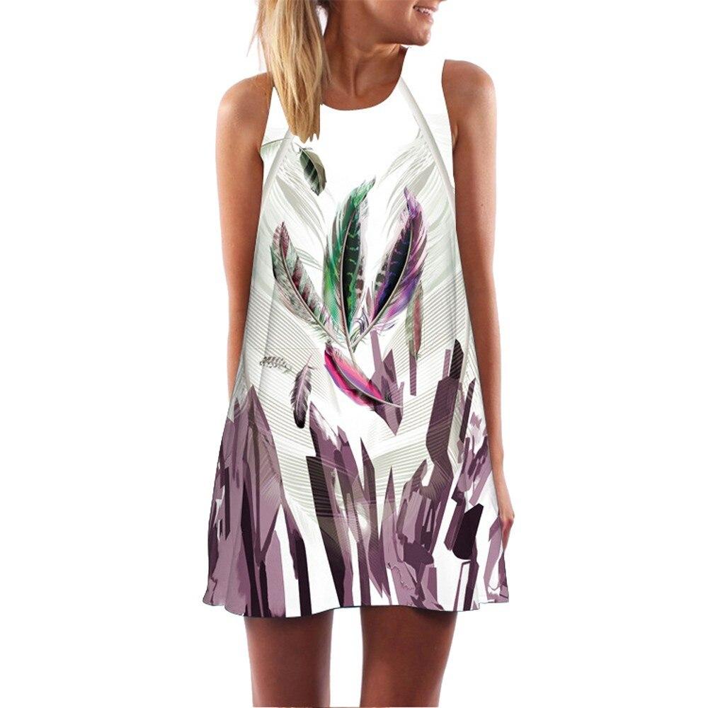White Vintage Boho Mini Floral Drss Women Sleeveless O Neck Strapless Short Dress Beach Animal Sundress Straight Dresses #23