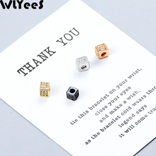 лучшая цена WLYeeS 4pcs CZ Square Shape Copper Spacer Loose bead Inlay White Crystal Metal charms Loose bead For Jewelry making DIY bracelet