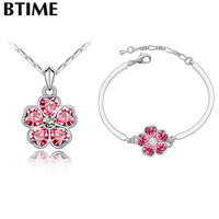 Gift Genuine Crystal Flower Necklace Earrings Jewelry Sets Made With Swarovski Elements Women Silver Wedding Accessories
