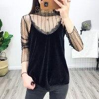 European Style 2017 New Women Black Lace Crochet Velvet Crop Top Sexy Slip Strap Sleeveless Backless