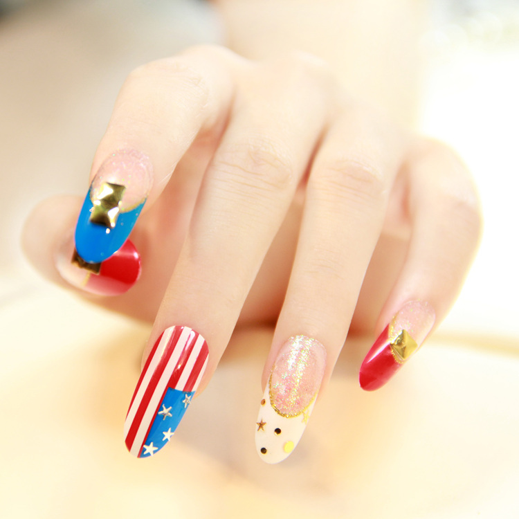 French flag wind small round head nail patch fake nails nail ...